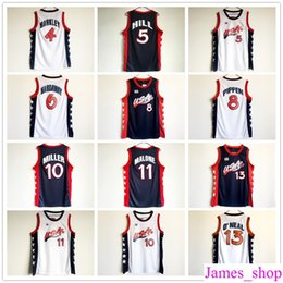 Wholesale Usa Olympic Basketball - 1996 Atlanta Olympic USA Team Basketball Jerseys 5 Grant Hill 8 Scottie Pippen 10 Reggie Miller 11 Karl Malone 13 Shaquille ONeal Jersey