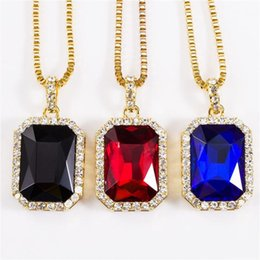 Wholesale Square Tins - 2018 Pendants & Necklaces Geometric Necklace Bling Iced Out Red CZ Pendant Chain Gold Square Red Black Blue Rhinestone