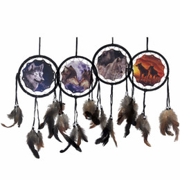 Wholesale Indian Beds - 4 Colors Wolf Dreamcatcher Wall Hanging Crafts Indian Feather Dream Catcher Pendant Bed Indoor Window Car Hanging Decoration Wholesale