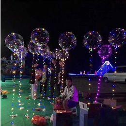 Wholesale Led Lights Xmas Decorations - LED Bobo Balloon Transparent LED Light Balloons Wedding Xmas Party Lights Décor 3meter 4 colors LED Party Decorations Balloon KKA3181