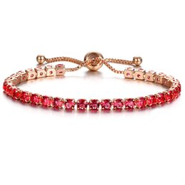 Wholesale push jewelry - 10 Colors Luxury Rose Gold Color Chain Link Bracelet for Women Ladies Shiny Crystal Push Pull Bracelet Jewelry Gift