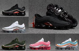 Wholesale metallic zip - Vapormax 97 OG Bullet Running Shoes 2018 Men Women Airs Cushion Undefeated white Metallic Sports Athletic Run Shoes Outdoor Sneaker 36-46