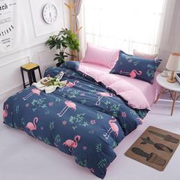 camas cheias venda Desconto Lannidaa Hot Sale Azul Flamingos Conjunto De Cama 3 pçs / set Capa de Edredão Set Colcha Fronha Para Adultos Gêmeo Completa Rainha King Size