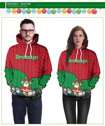 34bb8aea449 2018 Popular models Christmas costumes New Christmas Day Adults Funny Santa  Claus Coating Print Long-sleeved Hooded Sweater Wholesale Sales