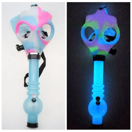 mask shipping Coupons - Gas Mask Bong Both Glow in the Dark Water Shisha Acrylic Smoking Pipe Sillicone Mask Hookah Tobacco Tubes Free Shipping Wholesale