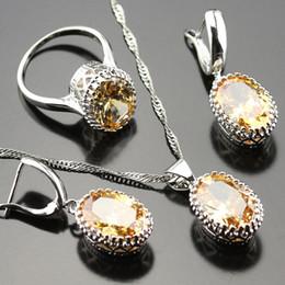 Wholesale Morganite Pendants - whole sale925 Logo Orange Morganite Jewelry Set For Women l Rings Earrings Necklace Pendant