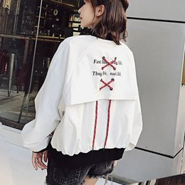 patch bomber women Promo Codes - Harajuku bomber jacket woman spring 2018 hip hop rock jackets female ribbon sleeve patchwork coats plus size kpop cute cardigans