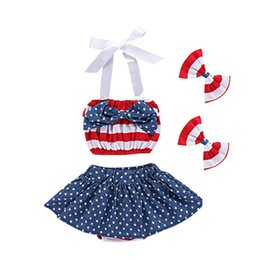 american flag suits Coupons - Girls American Flag Suit Stars Skirt Stripes Top Bows Headband American Independence Day Baby Girls Braces Skirt 1-5T TIANGELTG