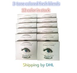 Wholesale fresh tone - Free Shipping By DHL Fancytone Fresh 3-tone PP blister contact lens case Color Contact Lens package box