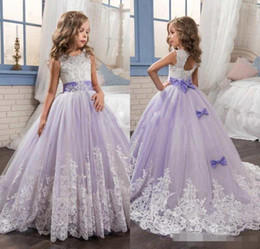 Wholesale Beaded Dresses For Weddings - 2017 Beautiful Purple and White Flower Girls Dresses Beaded Lace Appliqued Bows Pageant Gowns for Kids Wedding Party