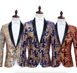 Sequin di fiore design online-Scialle con risvolto per uomo Blazer con risvolto Disegnatore di vestiti per cantante da palcoscenico DJ Club in velluto nero con fiori dorati