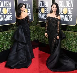 Wholesale Red Annuals - 2018 Penelope Cruz 75th Annual Golden Globe Awards Red Carpet Celebrity Dresses Black Lace Evening Gowns with Detachable Train Arabic
