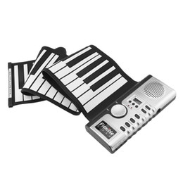 Wholesale grand digital - 61 Keys 128 Tones Roll Up Electronic Piano Keyboard Portable Digital Keyboard Piano Flexible Rechargeable Musical Instrument New