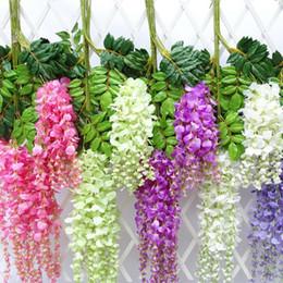appendenti fioriti Sconti 12 pz / lotto 110 cm Fiore Artificiale Appeso Flora Glicine Seta Giardino Falso Appeso Piante Decorazione di Nozze Giardino di Casa Prodotti