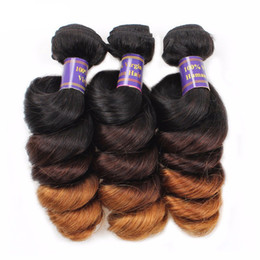 Wholesale 27 Inch Weave - 8A Peruvian Loose Wave Weave Human Hair ombre hair extensions virgin Unprocessed hair bundles 1b 4 27