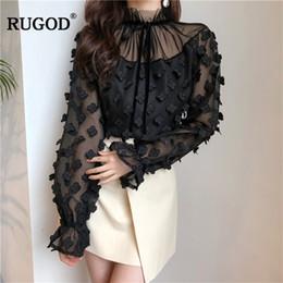 RUGOD Nouveau Loose Mesh Bottising Blouse Shirt Manches Longues Lace Up Tops Printemps Élégant Floral Appliques Femmes Blouses Solid Blusas ? partir de fabricateur