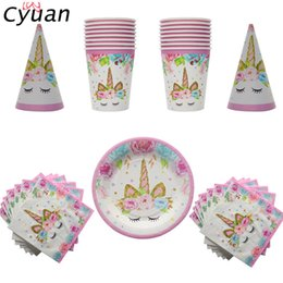 Discount disposable tableware birthday - Cyuan Birthday Party Disposable Tableware Set Unicorn Party Paper Plate Cup Napkin Hat Tablecloth Kids Happy Birthday Supplies