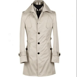 Wholesale Men S Belted Trench Coat - Free shipping 2017 new designer autumn spring slim sexy trench coat men long sleeve mens trench coat clothing belt S - 9XL