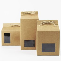 Wholesale window cookie boxes - Kraft Paper Party Wedding Gift Bags, Cookies Chocolates Candy Packing Boxes with Window Free Shipping wen6591