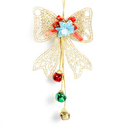Wholesale wall hanging bell - 1pc Christmas Bells Decoration Bow String Hanging String PVC Plastic Wall Pendant Christmas Decorations For Home