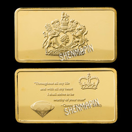 2019 jubileo diamante New Arrivals Queen A Free Wholesale Wholesale 10Pcs / Lot 24K Chapado en oro The Queen's Diamond Jubilee Reino Unido A Bullion Bar jubileo diamante baratos