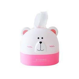Wholesale rolling seat - Bear Tissue Storage Box Cartoon Shape Roll Paper Organizer Household Living Room Table Decoration Accessories