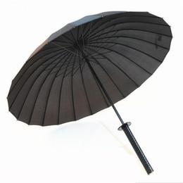 cuchillos de apoyo Rebajas Negro Fresco japonesa Samurai Espada Ninja Katana del paraguas Sunny Rainny largo mango semiautomáticas 8, 16 o 24 costillas