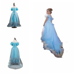 Wholesale Costumes Gowns - Girl Cosplay Party Dresses Summer Maxi Dress Short Sleeve Baby Kids Multilayer Tulle Clothes Princess Party Evening Floor Length Costume