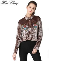 Wholesale Velvet Fashion Blouse - OL Style Office Women Blouse 2018 Fashion Turn Down Collar Long Sleeve Embroidery Floral Shirt Velvet Ladies Tops Chemise Femme