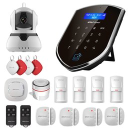 Wholesale Wireless Smoke Detector Cameras - Wolf-Guard Wireless Home Alarm Security Burgle System 2G GSM WIFI Sheild Host with 720P IP Camera Door PIR Sensor Motion Detector Access