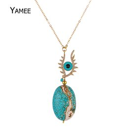 blue eye pendants for women Promo Codes - Unique Blue Evil Eye Natural Stone Turquoises Pendants Pave Zircon Golden Plated Fashion Chain Necklace For Women Charm Jewelry