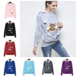 Wholesale hoodie for girls - 10 colors Cat Lovers Hoodies With Cuddle Pouch Dog Pet Hoodies For Casual Kangaroo Pullovers With Ears Sweatshirt MMA370