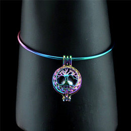 drahtbaum leben Rabatt Regenbogen-Lebensbaum-wirklicher Perlen-Käfig-Armband 65mm erweiterbarer Draht-Stahlarmband-Armband B-C23