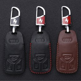 Wholesale controlling car keys - For 2017 Audi A4L Q7 l Hand-stitched leather key case intelligent remote control package special car.