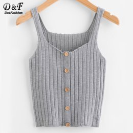 Wholesale Button Up Vest - Dotfashion Ladies Button Up Rib Knit Plain Top 2017 New Arrival Scoop Neck Vacation Vest Woman Autumn Skinny Casual Camisole