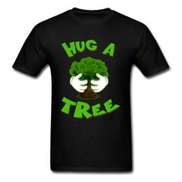 Calzamaglia verde dei ragazzi online-Hug A Tree Design Top T Shirt Cotone Estate O Collo T Shirt Fitness Tight Tee Shirts Divertente Green Plant Print T-shirt per ragazzo