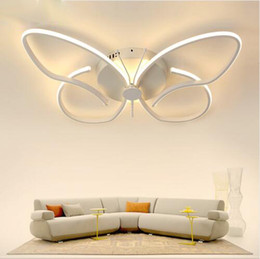 kids modern ceiling lighting Coupons - Modern Minimalist LED Ceiling Chandeliers Butterfly Ceiling Lighting Dimmable Home Lighting Kids Room Decoration Light Fixture