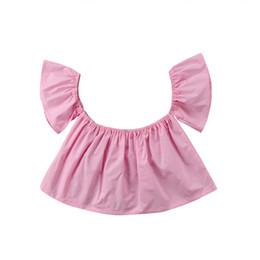 Moda bambina appena nata Camicetta estiva manica corta Solid Girl Top Princess Girl Ruffle Off Shoulder Crop Top da