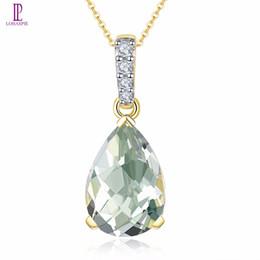 натуральные зеленые бриллианты Скидка Природный зеленый аметист желтое золото свадебный кулон Алмаз твердый 14 K натуральный драгоценный камень тонкой Моды камень ювелирные изделия подарок Lohaspie
