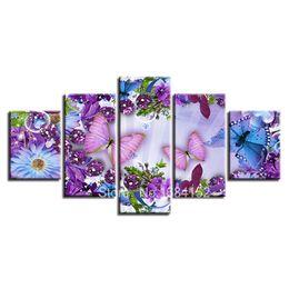 5D DIY Diamante Ricamo ButterflyFlower 5 PZ Pittura Diamante Punto Croce Pieno Trapano Strass Multi-immagine Decorazione a mosaico da