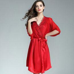 100% Silkworn Silk Women Sleeping Robe Nightdress Two-Piece Sets Summer  Sexy Real Silk Sleepwear Female Half Sleeve P9931 f16ffb783