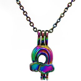 Wholesale mini cloud - C654 Rainbow Color Beauty Bifrost Mini Cloud Pearl Cage Locket Pendant - Luck Gift Essential Oils Diffuser