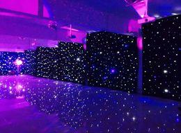 Iluminación de fondo del partido online-3mx6m LED cortina del banquete de boda LED Star Cloth escenario negro telón de fondo LED Star Cloth cortina de luz decoración de la boda LLFA