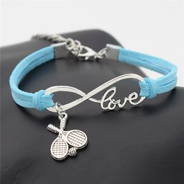 Pulsera de cuero doble infinito online-AFSHOR 2018 New Casual Punk Antique Silver Double Cross Tennis Racket Ball Charm Infinity Love Leather Bracelet Gift for Tennis Sports Lover