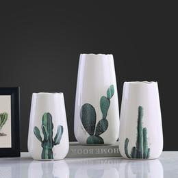Wholesale Modern Decoration White Vase - Wholesale-Modern ceramic concise fashion white flowers vase pot cactus vases home decor crafts room decoration objects porcelain figurine