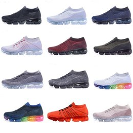 Wholesale Light Gray Red Sport Shoes - High quality 2018 Vapormax Running Shoes Men Women Black White Blue Gray Red Pink Sports Shoes sneakers Eur size 36-45