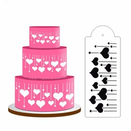 Wholesale Stencil Cakes - HENGHOME fashion Cake Decorating ToolHeart Cake Stencil Side Top Stencil Decoration Decor Fondant Mold