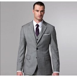 2019 maglia elegante degli uomini Su ordine Elegante grigio uomo Blazer Suit Uomo Moda Slim Mens Abiti per matrimonio formale per Prom (Jacket + Pants + vest + Tie) sconti maglia elegante degli uomini