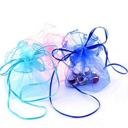 Bolsas de regalo de organza redondas online-Color sólido Ronda Organza Bolsa de regalo Fiesta Favor de la boda Oro rosado Blanco Azul Regalo presente Sorteo de joyería Bolso con cordón