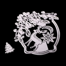 Wholesale Metal Craft Ornaments - Creative Diy Paper Art Cutting Dies Christmas Day Metal Geometry Fawn Embossing Mold Photo Album Decorative Crafts Stencils 12 5sx Y